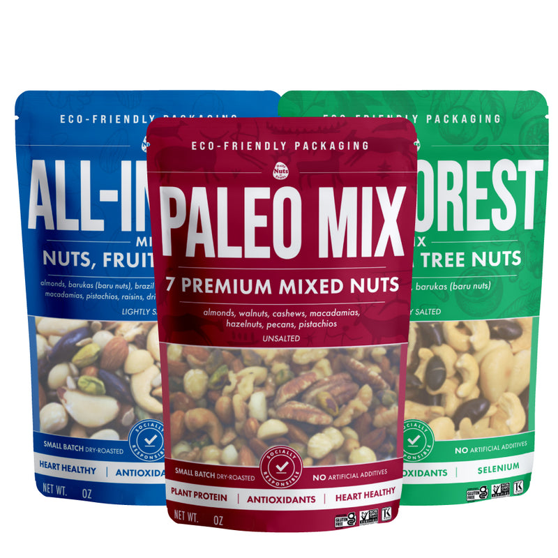 3 New 8 oz Mix Sampler (3 of each - Paleo Mix, All-In-One Mix, Rainforest Mix)
