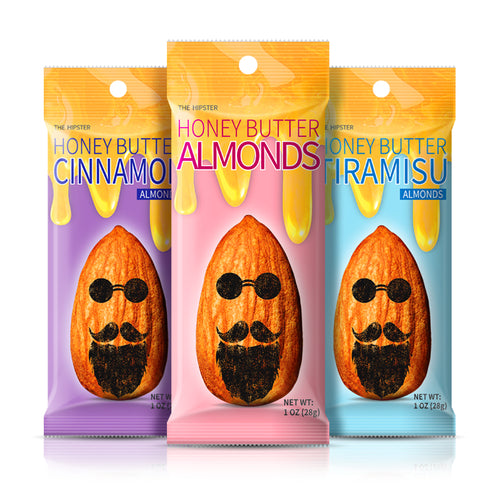 THE HIPSTER ALMONDS (HONEY + BUTTER BASED ALMONDS / 1 OZ X 12)