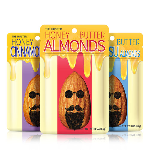 THE HIPSTER ALMONDS (HONEY + BUTTER BASED ALMONDS / 3 OZ X 4)