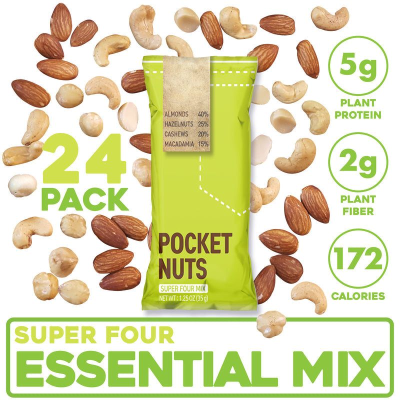 Pocket Nuts (Lightly Sea-Salted) (Super Four Mix, 1.25 OZ) (24 Count)