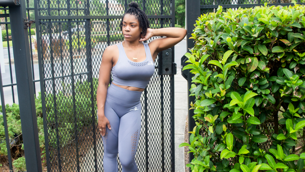 Curvy Fit Seamless Leggings- Silver Grey