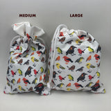drawstring pouches medium and large.