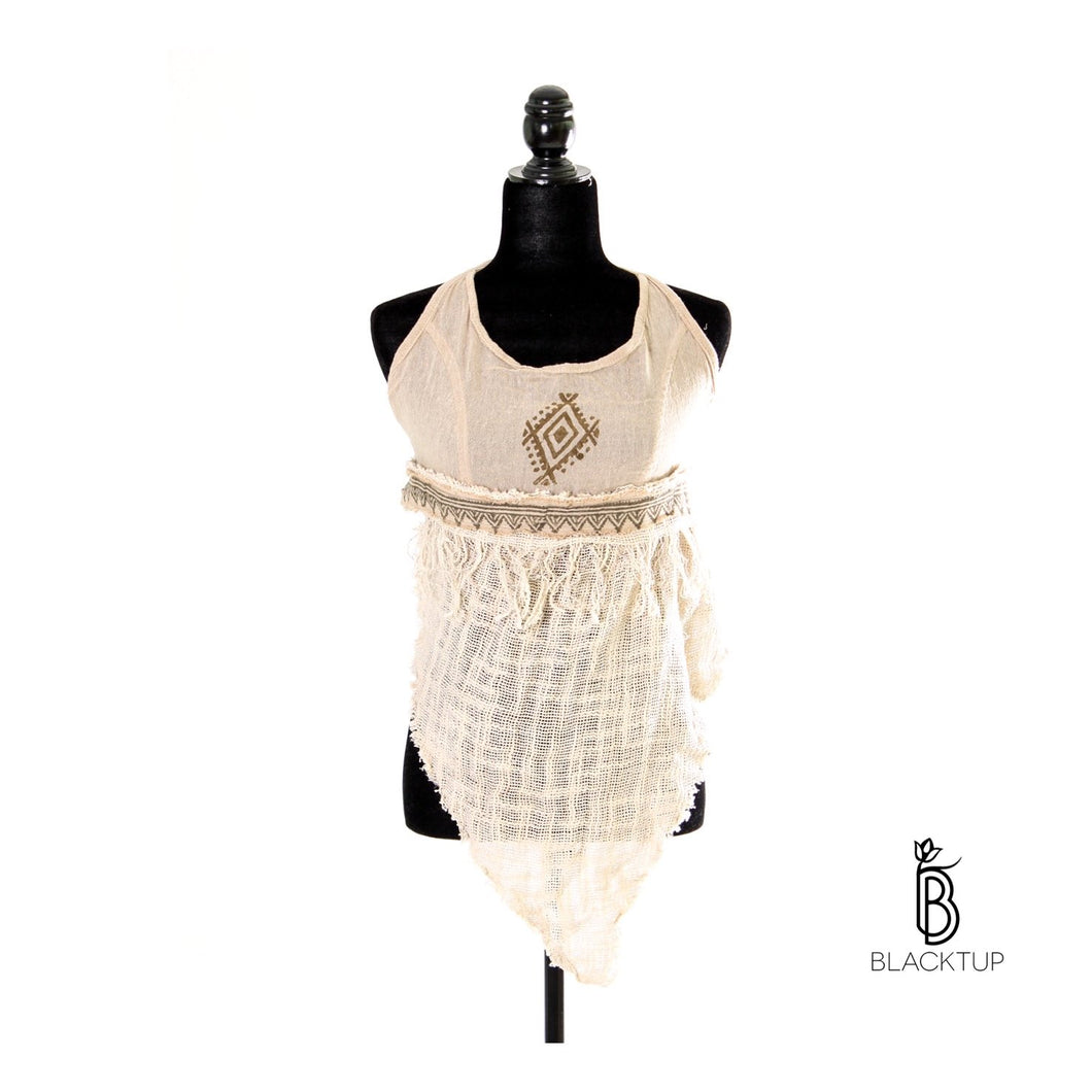 TOP ARTESANAL DE RED CON MIX FIBRA NATURAL HALTER (ARENA)