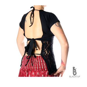 CHOLI / TOP ENCAJE LARGO NEGRO