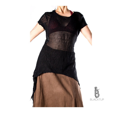 BLUSA TIPO RED MIX FIBRA NATURAL TRANSPIRABLE MANGA CORTA (NEGRA)