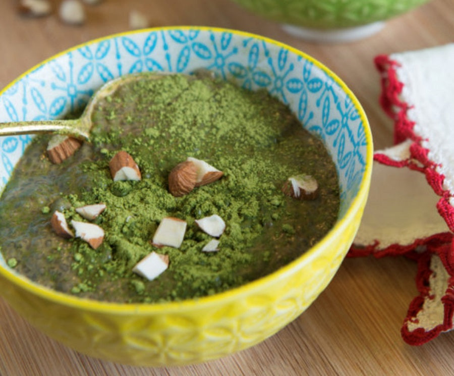 Matcha Chia Pudding with Cacao