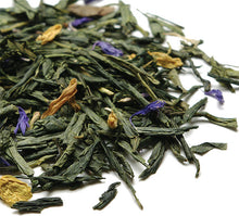 Load image into Gallery viewer, Pile of loose, whole leaf Japanese Sencha and Chinese Dragonwell green tea with blue cornflower and yellow sunflower petals.