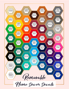 home decor decals color chart
