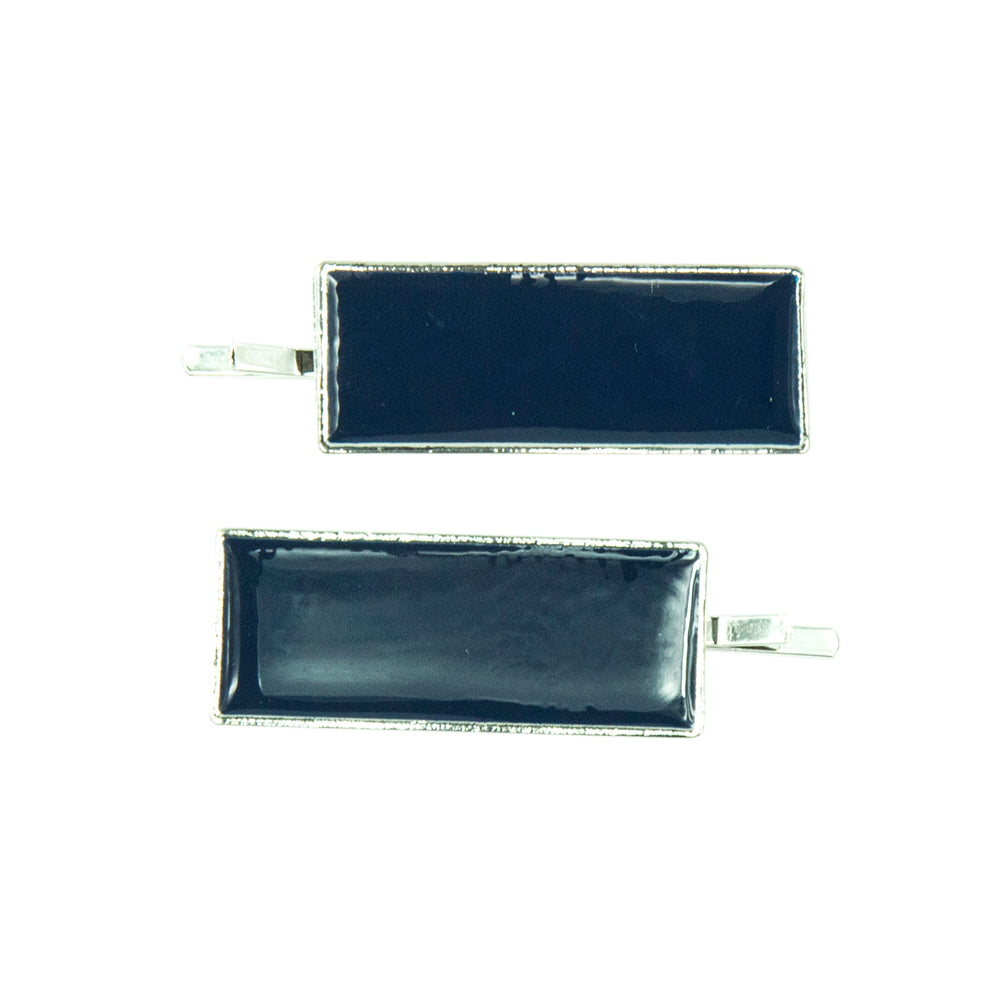 Ada - Navy/Silver Rectangle Enamel Hair Slides