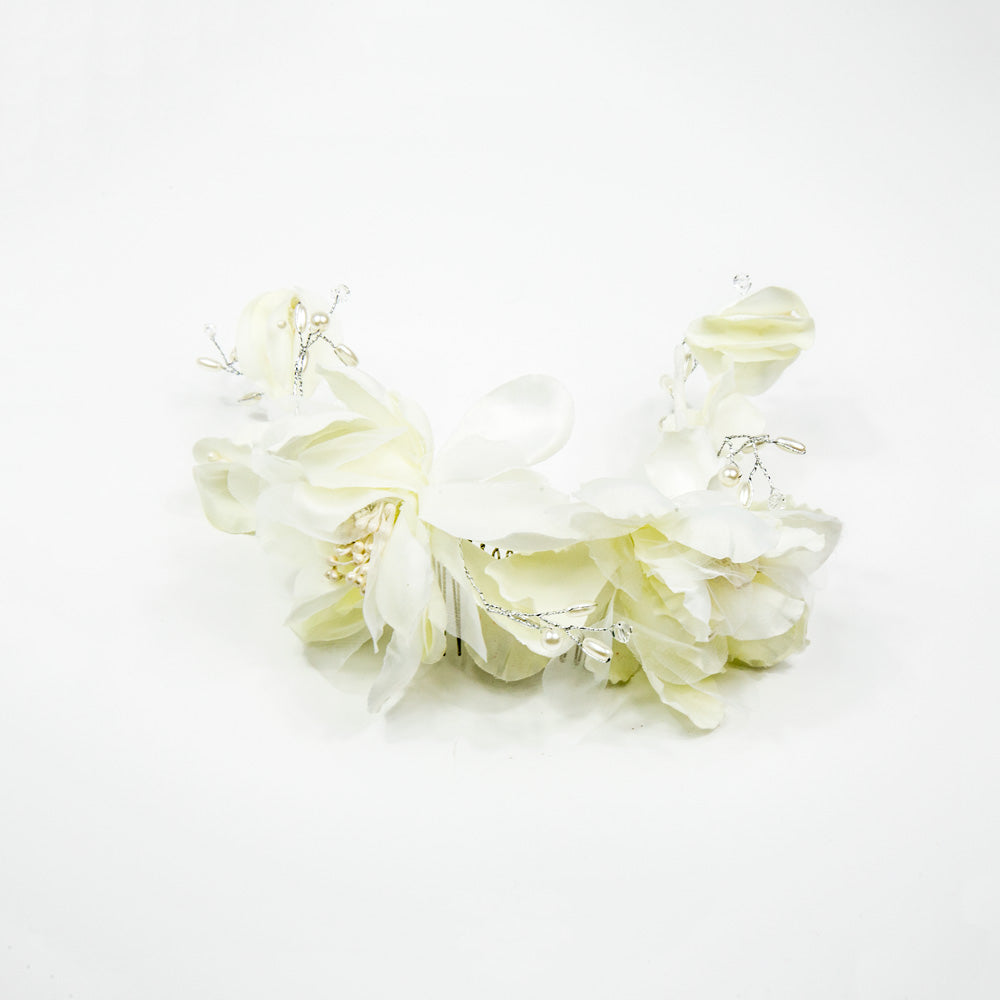 Azalea - White Satin Flower Comb