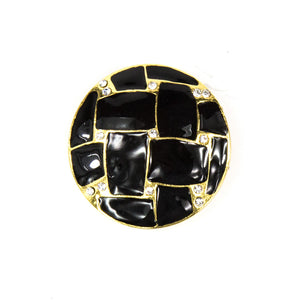Demi - Black Round Brooch With Crystals