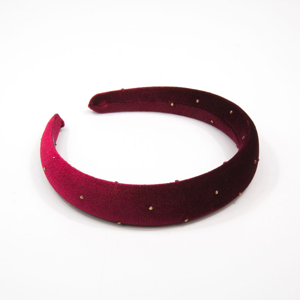 Amanda - Gold Spot Wine Velvet 3cm Hairband