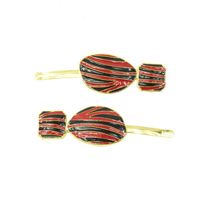 Marietta - Red and Black Striped Hair Slides