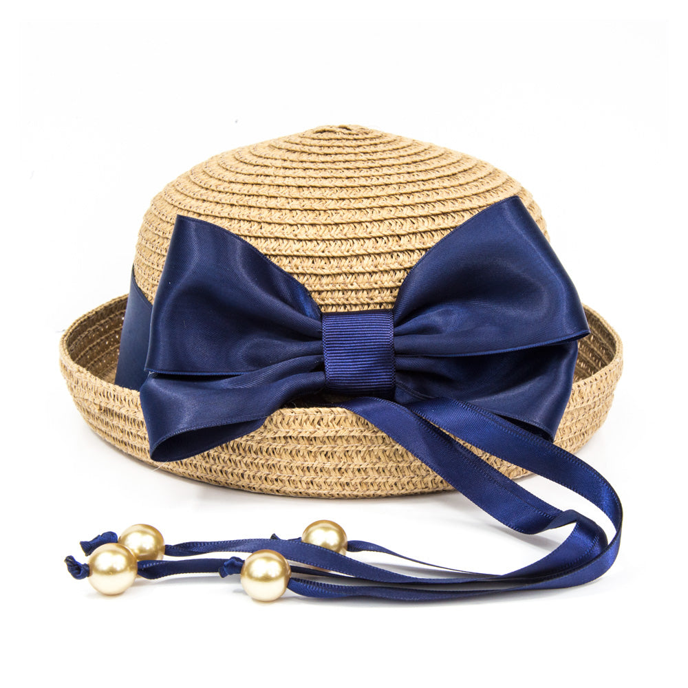 Summer Girls Straw Hat - Camel/Navy Bow