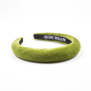 Forest Green Velvet Padded Hairband 2.5cm