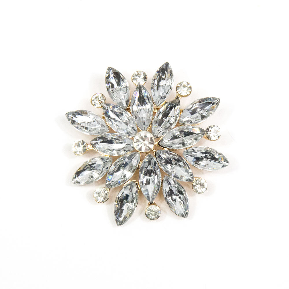 Verity - Silver/Clear Flower Brooch