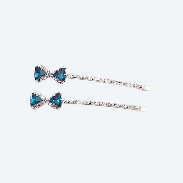 Skye - Turquoise Bow Crystal Hair Slides