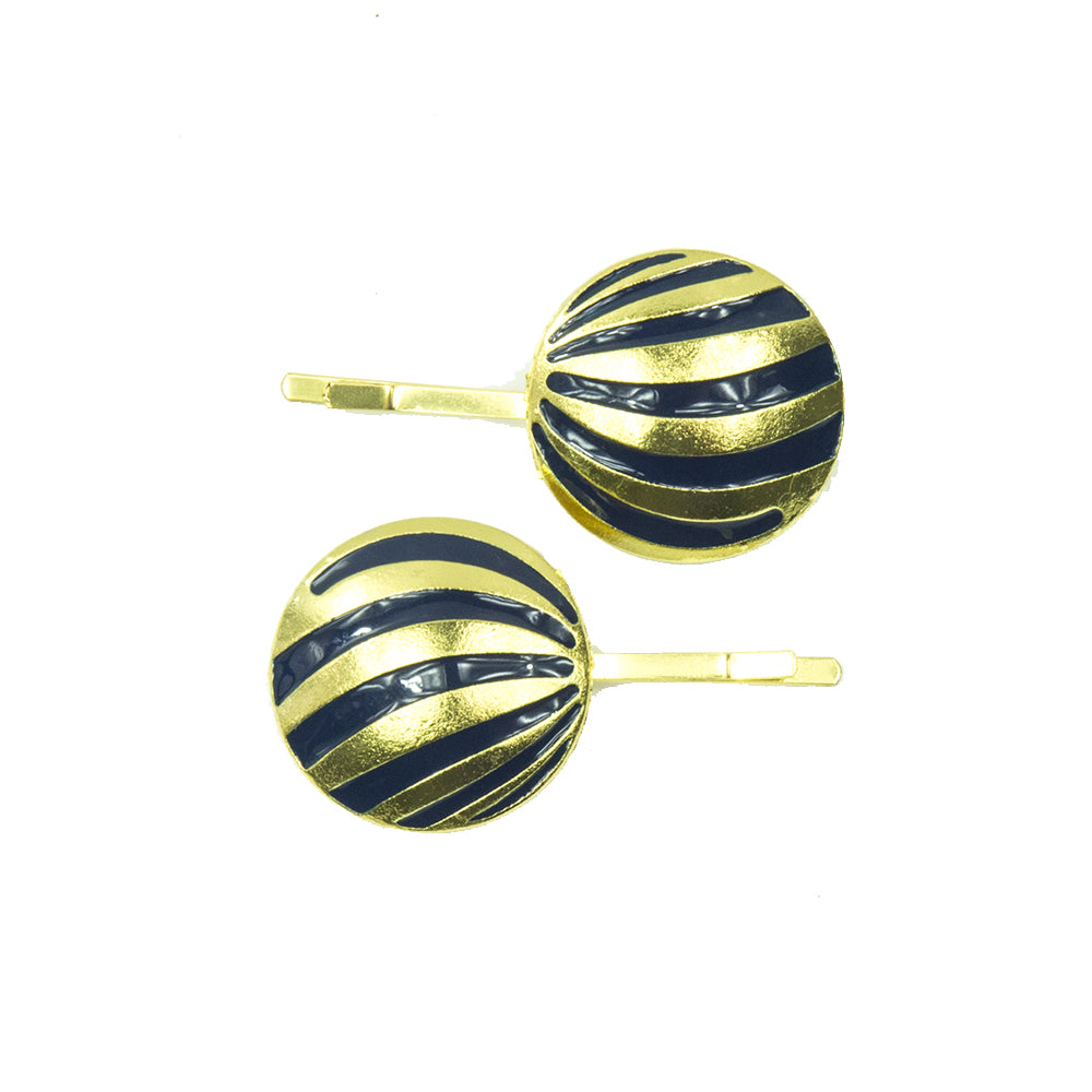Zaria - Navy & Gold Round Hair Slides