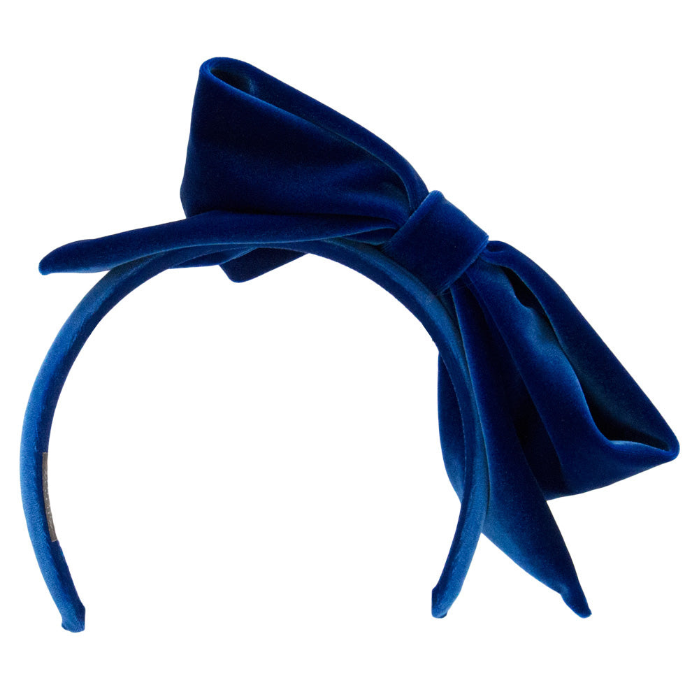 Alexandra -  Royal Blue Velvet Bow Hairband