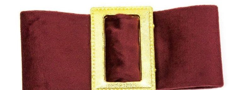 Francesca - Wine Red Suede Buckle Hair Clip - Clip A