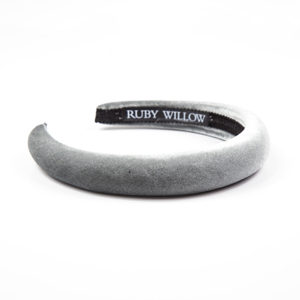 Grey Velvet Padded Hairband 2.5cm