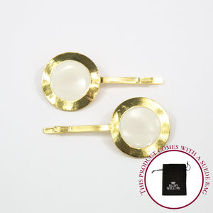 Chanel - Ivory Circle Hair Slides