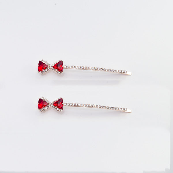 Skye - Red Bow Crystal Hair Slides
