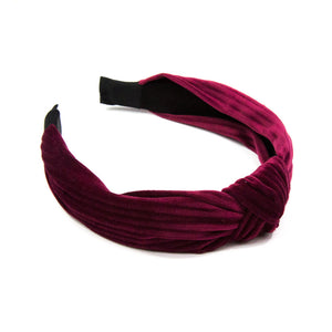 Kenza - Wine Red Velvet Knot Hairband