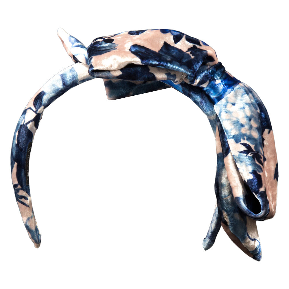 Alexandra - Blue Flower Velvet Bow Hairband