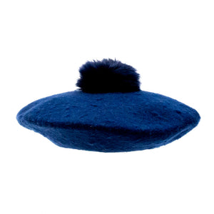 Ella - Navy Beret With Pompom