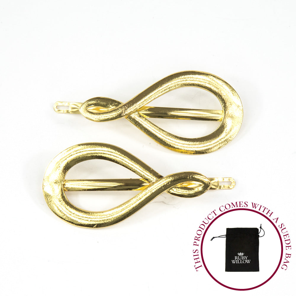 Sienna - Gold Large Swirl Hair Slides