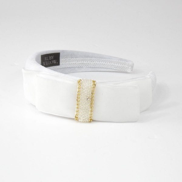 Hannah - White Velvet Crystal Bow Hairband