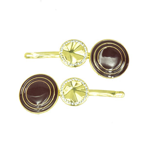 Davina - Wine Red & Gold Disc Hair Slides