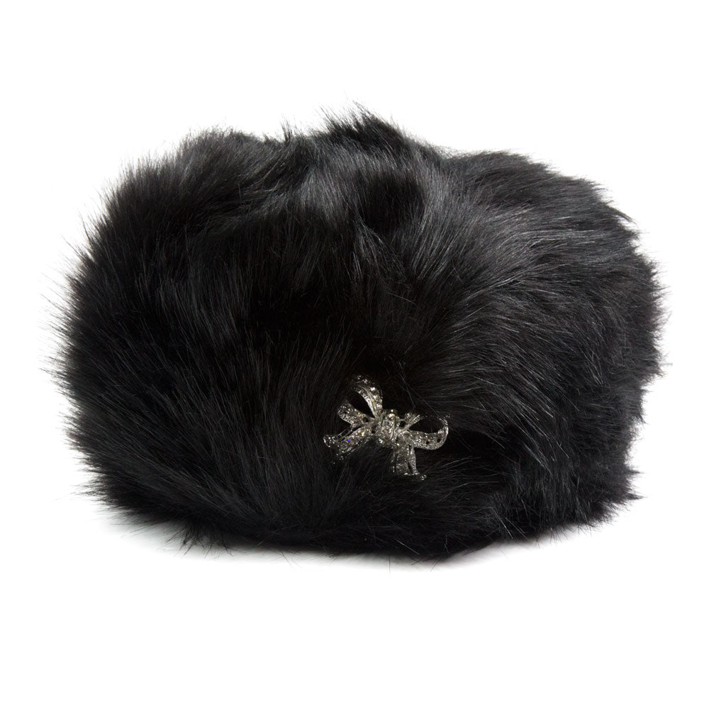 Black Fur Hat With Brooch