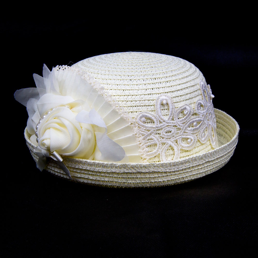 Summer Girls Straw Hat - Ivory Lace
