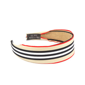Adonia - Red/Beige Striped Hairband
