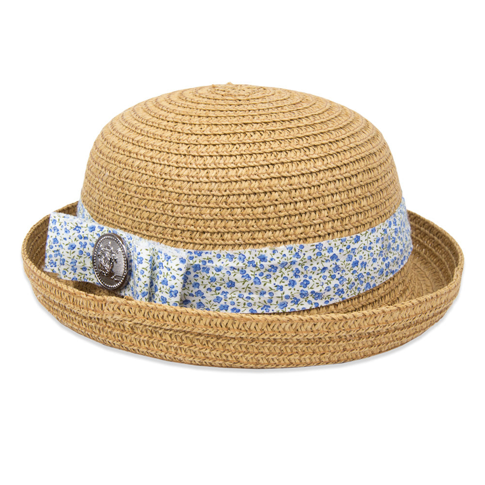 Summer Girls Straw Hat - Camel/Floral