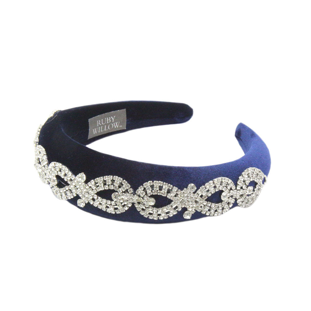 Arabella - Navy Crystal (Silver) Chain Velvet Padded Hairband