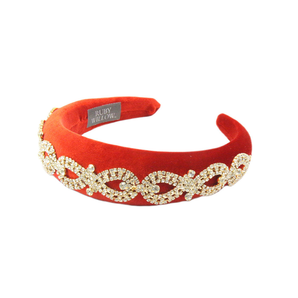 Arabella - Red Crystal (Gold) Chain Velvet Padded Hairband