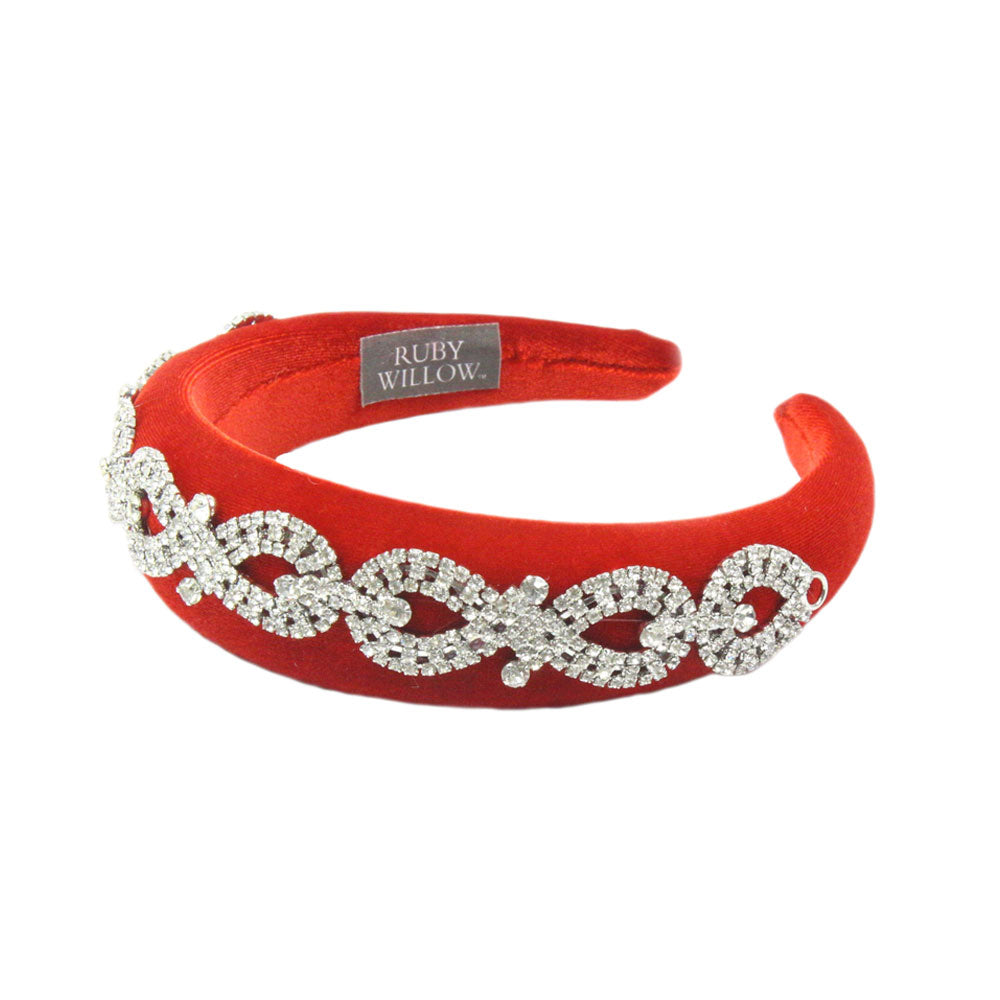 Arabella - Red Crystal (Silver) Chain Velvet Padded Hairband