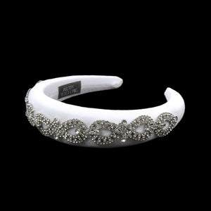 Arabella - White Crystal (Silver) Chain Velvet Padded Hairband