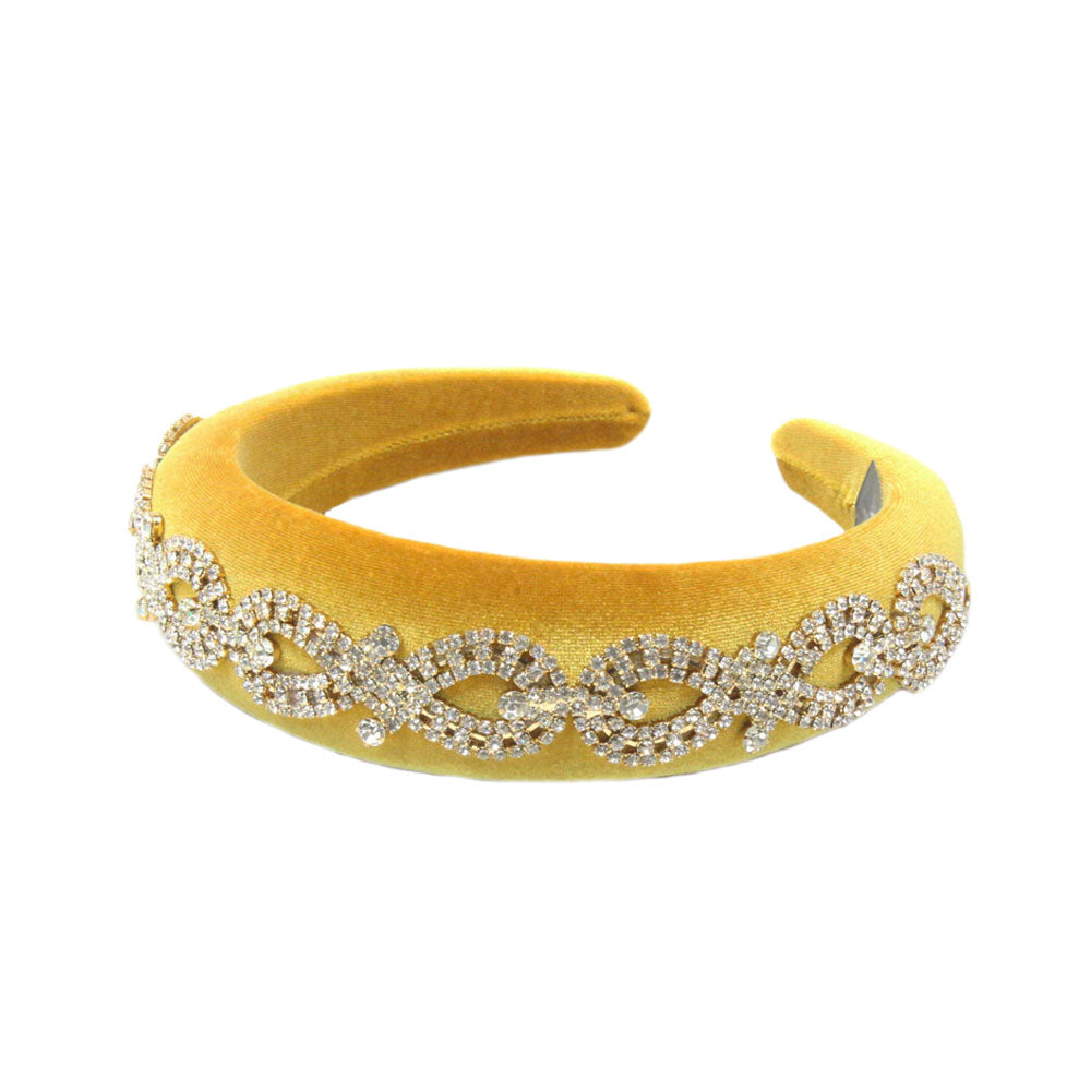 Arabella - Gold Crystal (Gold) Chain Velvet Padded Hairband