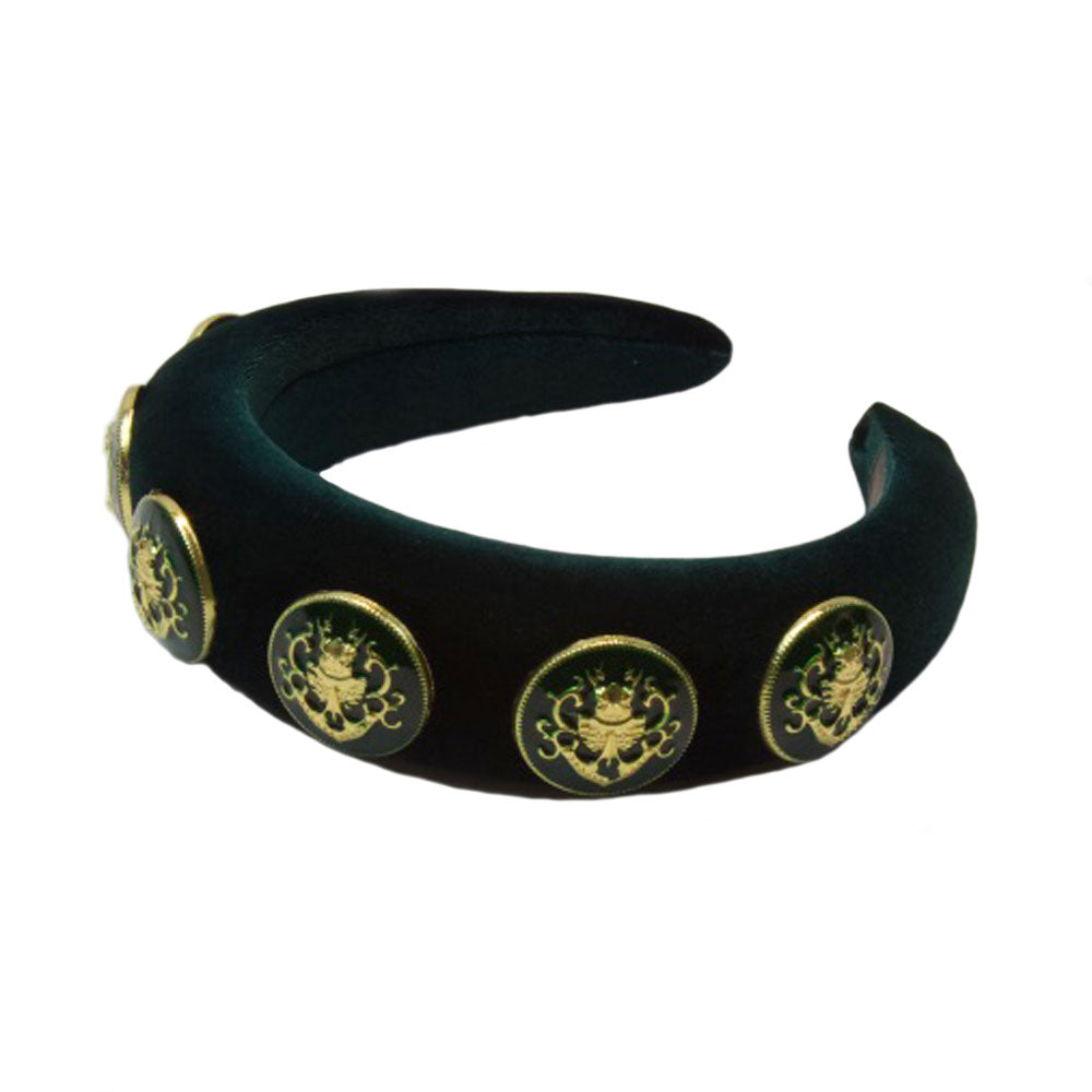 Aria - Hunter Green Gold Crest Hairband
