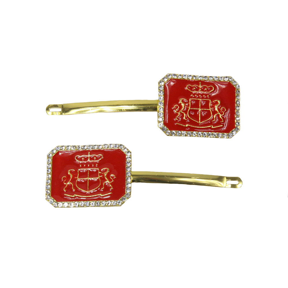 Claudia - Red Rectangle Crest Hair Slides