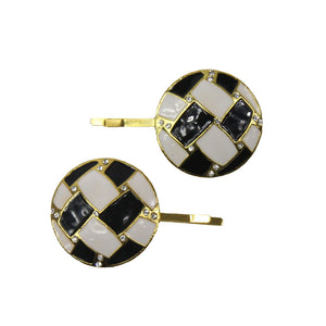 Demi - Black & White Round Crystal Hair Slides