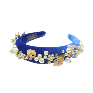Evangeline - Royal Blue Hairband With Gold Leaf/Pearl Design