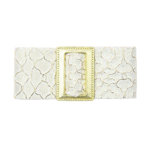 Francesca - White/Gold Buckle Hair Clip - Clip B