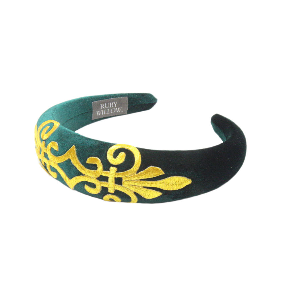 Gabriella - Hunter Green Velvet Padded Hairband With Gold Scroll