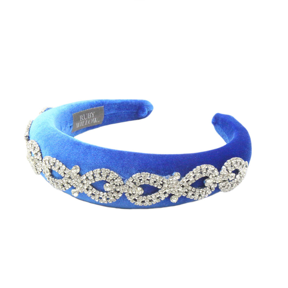 Arabella - Royal Blue Crystal (Silver) Chain Velvet Padded Hairband