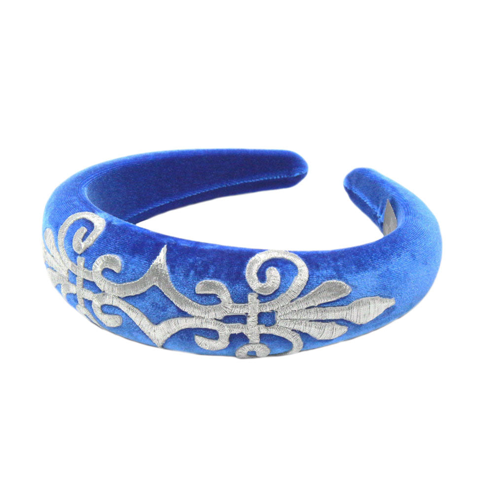 Gabriella - Royal Blue Velvet Padded Hairband With Silver Scroll
